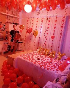 Stunning DIY Romantic Valentine's Day Decorations Ideas Whether single. Stunning DIY Romantic Valentine's Day Decorations Ideas Whether single or within a relationship, Valenti Wedding Night Room Decorations, Romantic Room Decoration, Romantic Bedroom Decor, Valentines Day Decorations, Birthday Decorations, Valentines Diy, Diy Bedroom, Bedroom Ideas, Romantic Room Surprise