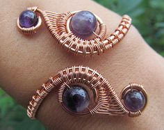 Amethyst Copper Wire Double Weave Bracelet- Purple Crystal Beaded Wire Wrapped Coil Cuff Bangle- Handmade Gemstone Goddess Wedding Jewelry