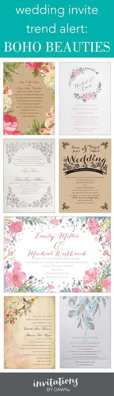 Get inspired: Garlands, flowers, lace and feathers. Boho is trending and these invites are stunning.