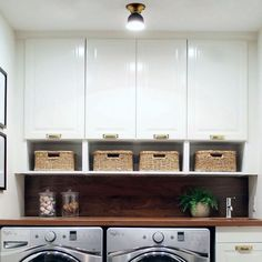 Small laundry room for the win! L-O-V-E finishing touches (including our Thurman Flush Mount + Mission Bin Pulls + Glass… Mudroom Laundry Room, Laundry Room Remodel, Small Laundry Rooms, Laundry Room Organization, Laundry Room Design, Laundry In Bathroom, Compact Laundry, Laundry Area, Small Laundry Sink