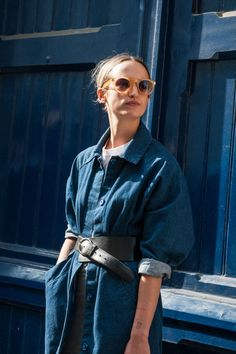 Belted denim jacket & citrus shades #style #fashion #streetstyle