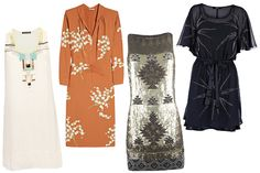 """""""The Best Fall Dresses""""- Embellished—Bedazzled looks were all over the spring runways, but these dresses just scream 'holiday parties!' to us. Whether they're demure like the Miu Miu beading or glitzy like All Saints, we're all for investing in this statement frock."""