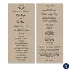 Rustic Wedding Program Kraft Wedding Ceremony by ThePaperBeaver