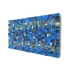 Wall Sculpture Silver Lining Wood Blocks by TateLowe on Etsy, $375.00