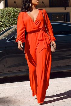 V Neck Chiffon Long Sleeve High Waist Loose Jumpsuit Women Fashion Lace Up Sashes Summer Rompers Casual Sexy Overalls Asos Jumpsuit, Jumpsuit With Sleeves, Jumpsuit Dress, Satin Jumpsuit, Casual Jumpsuit, Purple And Gold Dress, Chic Couture Online, Moda Plus Size, Hot Dress