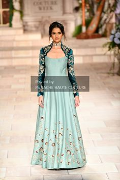 Blue Jacket Gown by Anju Modi from India Couture Week 2018. Contact us through WhatsApp +61470219564 or email to info@panachehautecouture.com to order or customisations. Stylish Gown, Stylish Dresses, Fashion Dresses, Indian Wedding Gowns, Indian Gowns Dresses, Indian Designer Outfits, Indian Outfits, Designer Wedding Gowns, Designer Dresses