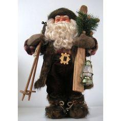 Papa noel rústico con esquíes y candil 42 cts.