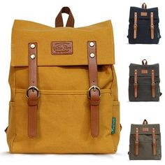 Canvas Backpacks for Men Mustard Rucksack Best College Backpack CHANCHAN 1016 #Yellowstone #Backpack