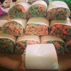 Pink and blue rice crispy treats for a gender reveal party or baby shower. Just add gel food coloring before the rice cereal. Then fold the 2 batches together before it hardens to create a marbled look. 2 batches will fill a 9x13 dish