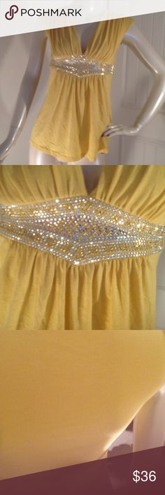 LOOK LOOK 😍beautiful embellished boutique blouse This is such a beautiful mustard yellow top in good preloved condition gorgeous bling with the sash tie in the back. You will love love this Tops Blouses