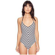 La Blanca Mime Games Mitered Mio (Black/White) Women's Swimsuits One... ($115) ❤ liked on Polyvore featuring swimwear, one-piece swimsuits, slimming one piece bathing suits, strappy one-piece bathing suits, balconette bra, strappy one piece swimsuit and tummy control one piece swimsuit
