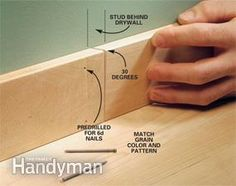 Interior Trim Work Basics All the trim basics-start to finish-plus a clever way to get those miters tight Door Molding, Moldings And Trim, Moulding, Molding Ideas, Crown Molding, Baseboard Trim, Baseboards, Baseboard Ideas, The Family Handyman