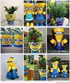 Minion Terra Cotta Pots are fun garden crafts and really fun DIY crafts for kids. Paint clay pots to look like Minions.  More Minion Flower Pots Ideas here:  https://www.pinterest.com/involvery/minion-terra-cotta-pots/