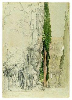 Samuel Palmer (1805–1881), The Villa d'Este at Tivoli from the Cypress Avenue