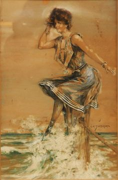 "Vincent A. Svobova, twentieth century artist. Original water color of the famous American 19th and 20th century ""Gibson Girl"" 1903 style feminine beauty with tall, slender yet curved torso shape poised in statuesque rendering above a gauche sea foam water scene."