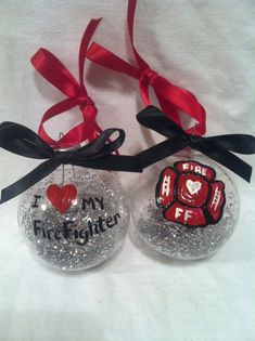 Hand painted Christmas Ornament, Glass ornament set, Love My Firefighter set. Cool idea for the FD tree. Painted Christmas Ornaments, Glitter Ornaments, Hand Painted Ornaments, Christmas Decorations, Firefighter Crafts, Holiday Crafts, Making Ideas, Firefighters Girlfriend, Christmas Time