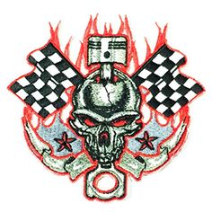 Back Patch Biker Large Motorcycle MC Racing Skull Flame Iron On Punk Metal Embroidered Patches Size 8 x 8 Inches For Jacket Vest Jersey Hoodie Shirt and so on -- Be sure to check out this awesome product.