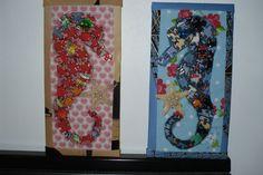 Cavalo-marinho feito de caixa de papelão e tecido e moldurado com revista