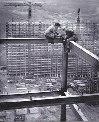 Construction workers on the Red Road Flats