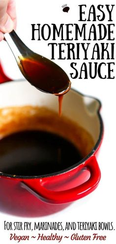 Homemade teriyaki sauce with just a few simple ingredients! Pour it over vegetables, tofu, stir fry, and more! Use it as a stir fry sauce or a marinade and even adjust the sweetness or add spice to suit your taste! It's vegan and with a few simple chang Salsa Teriyaki Casera, Teriyaki Marinade, Waba Grill Teriyaki Sauce Recipe, Teriyaki Sauce Recipes, Teriyaki Stir Fry Sauce, Gluten Free Teriyaki Sauce, Homemade Stir Fry Sauce, Homemade Teriyaki Sauce, Easy Stir Fry Sauce