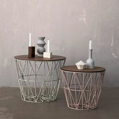 Ferm Living Wire Basket Top - Låg til trådkurve - Sofabord Large Wire Basket, Large Baskets, Iron Coffee Table, Coffee Tables, House Wiring, D 40, Modelos 3d, Modern Side Table, Wooden Tops