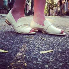 Guess who!? Kimberly Pesch of Eat.Sleep.Wear rocking our Edie Bone open-toe loafers.