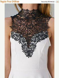 XMAS Sale Black Lace Crochet  Collar for sewing and crafting by kbazaar. Explore more products on http://kbazaar.etsy.com