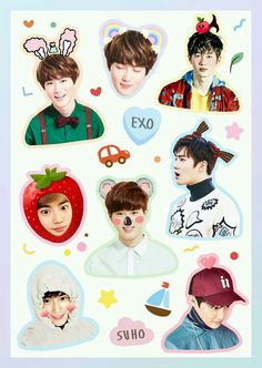 Exo Stickers, Tumblr Stickers, Printable Stickers, Cute Stickers, Kpop Exo, Suho Exo, K Pop, Exo Album, Exo Lockscreen