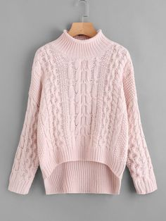 To find out about the Cable Knit Stepped Hem Sweater at SHEIN, part of our latest Sweaters ready to shop online today! Poncho Outfit, Pullover Outfit, Sweater Outfits, Fall Outfits, Pink Sweater, Cute Sweaters, Cable Knit Sweaters, Pullover Sweaters, Turtleneck Style