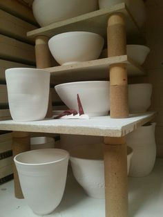 A kiln load of my porcelain vessels. A successful bisque firing