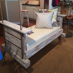 Lowcountry Swing Beds The Modified Midtown Daybed Swing – The Swinging Porch Wooden Pallet Beds, Pallet Swing Beds, Diy Pallet, Pallet Ideas, Home Swing, Patio Swing, Swing Design, Bed Design, Porch Swings For Sale