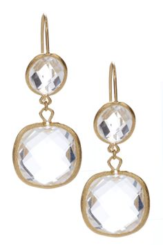18K Gold Clad Rock Crystal Bold Double Dangle Earrings