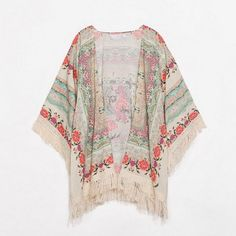 Floral Kimono with Tassel Fringe