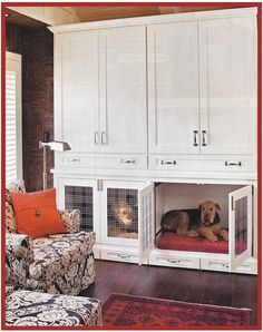 dog crate area- use this but, take it to the ceiling with a smaller set of cabinets above.
