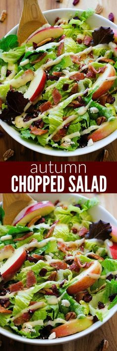 This salad is amazing! Apples, cranberries, pecans, bacon and Feta cheese!