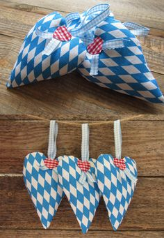 Oktoberfest decoration set of 3 fabric hearts traditional Bavarian diamond blue white Bavarian heart hangers country style