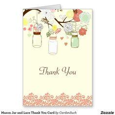 Mason Jar and Lace Thank You Card