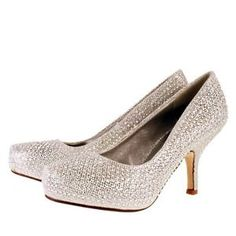 New TRUFFLE Silver Sparkle Kitten Heel Evening Party Prom Wedding Court Shoes | eBay