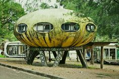 Located in Taiwan, this abandoned complex is made up of two types of futuristic homes, the UFO style Futuro and the curved rectangular house called the Venturo. They are located in Wanli on the Northern coast of the country.