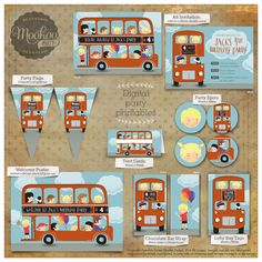 Retro Red London Bus Printable Party Package by MookooDesign - love these!