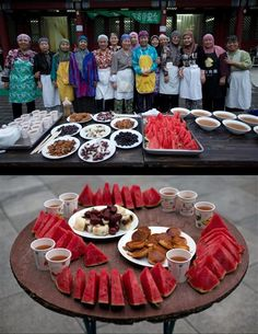 This combination of two photos taken on Wednesday, July 2, 2014, shows Chinese Muslim women posing for a photograph before breaking their fast, top, and their meal, bottom, during the holy month of Ramadan at Niujie Mosque in Beijing, China. (AP Photo/Andy Wong) ▼21Jul2014AP|AP PHOTOS: As Ramadan fast ends, the feasts begin http://bigstory.ap.org/article/ap-photos-ramadan-fast-ends-feasts-begin #Ramadan #Niujie_Mosque_Beijing