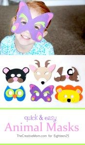 quick and easy animal masks - The Creative Mom