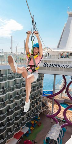 Symphony of the Seas, a perception remixing, memory maxing mic drop. Our newest, biggest cruise ship with all the greatest hits, plus revolutionary new firsts. Start your next vacation adventure here. Caribbean Cruise Line, Royal Caribbean Ships, Zip Line Ride, Biggest Cruise Ship, Symphony Of The Seas, Kids Indoor Playground, Summer Bucket Lists, Cruise Ships, Family Adventure