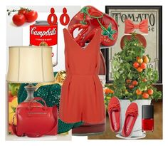 """""""Tomato"""" by sarahguo ❤ liked on Polyvore featuring Dot & Bo, Potting Shed Creations, NARS Cosmetics, Keds, Cost Plus World Market, The Elephant Family, Balmain, Topshop, Moncrief and Oscar de la Renta"""
