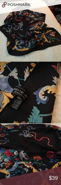 """Beautiful 36"""" square silk scarf - Museo del Prado Fine 100% silk. Stunning rich-colored bird and flower print on a black background. Made in Italy. Bought at the Prado Museum in Madrid Spain. Accessories Scarves & Wraps"""