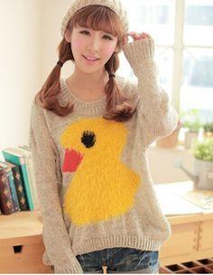 New Arrive Korean Round Collar Duck Loose Sweaters                    _Pullovers_Sweaters_Wholesalekingdom.net