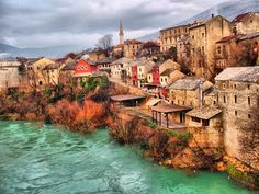 Old Town of Mostar in Southern Bosnia Travel Around Europe, Travel Around The World, Around The Worlds, The Places Youll Go, Places To Go, Mostar Bosnia, Historical Monuments, Bosnia And Herzegovina, Albania