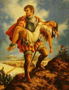 Conquistador with an Aztec woman