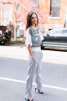 Call to Style Soho Streetstyle in Striped 3.1 Phillip Lim top, Saint Laurent sunglasses. New York City Style Blog.