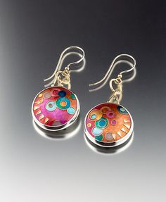 Pink and Orange Cloisonne Earrings by Jan Van Diver: Enameled Earrings available at www.artfulhome.com